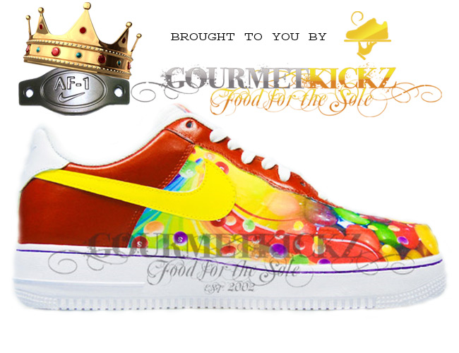 Custom Nike Air Force One Low Skittles AF1  by GourmetKickz