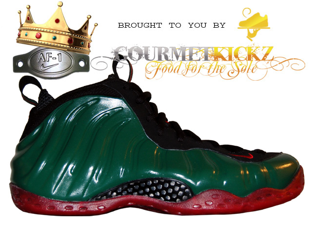 Hand Painted Foamposite Ones by GourmetKickz | Gucci Foams