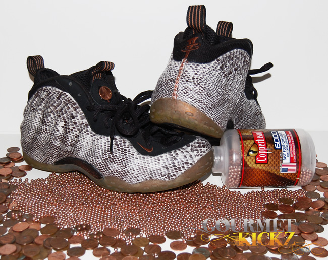 Custom Copper Head Snake Foamposite One by GourmetKickz