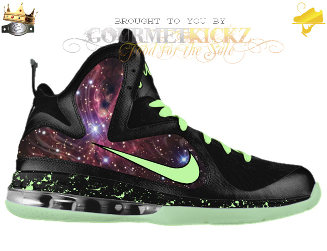 detailed look 89404 5a0ff Custom Galaxy Foamposite LeBron 9
