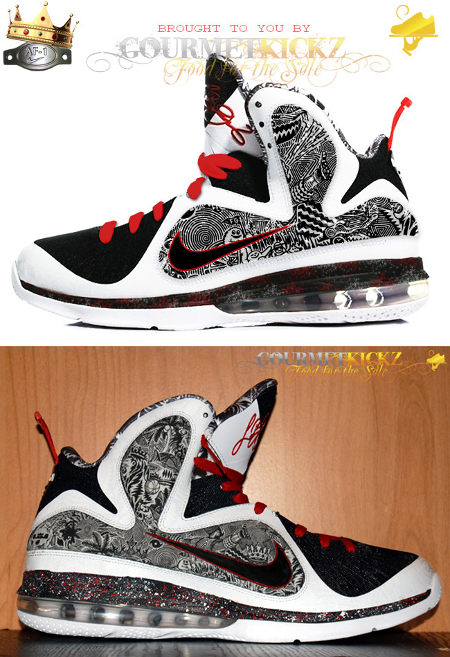 Lebron 9 Custom Freegums Inside Out mockup comparison