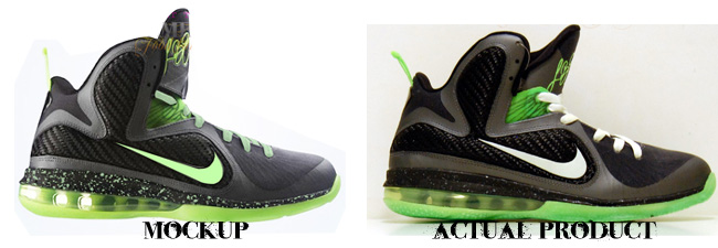 Custom Dunkin In The Dark Man LeBron 9 Comparison