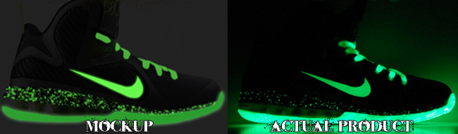 Custom Dunkin In The Dark Man LeBron 9 Glowing Comparison