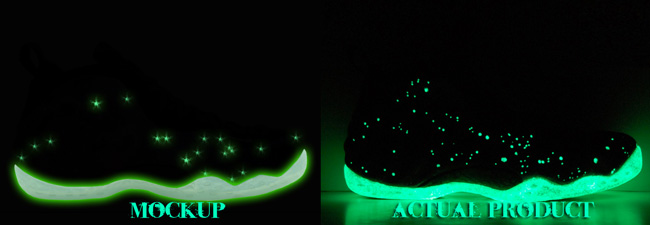 Custom Galaxy Foamposite One Glowing Comparison