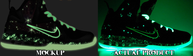 Custom King of the Galaxy LeBron 9 Foamposite Glow Comparison
