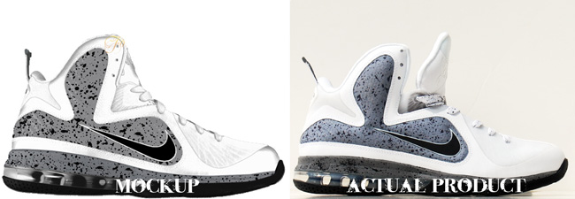 Custom LeBron 9 Lion in Cement Mockup vs Actual Image Comparison