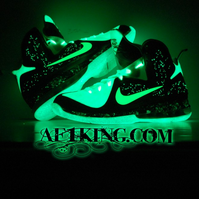 Glowing Flywire Mesh & Galaxy Foamposite Custom LeBron 9 by GourmetKickz
