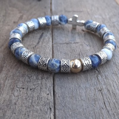 Denim Blue Sodalite & Silver Cross Bracelet by Lower East Dry Goods