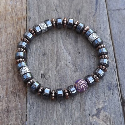 Metallic Hematite and Copper Accent Bracelet by Lower East Dry Goods