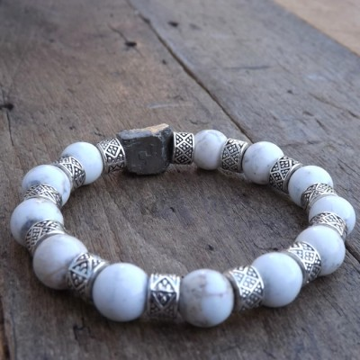 Howlite and Pyrite Beaded Bracelet by Lower East Dry Goods