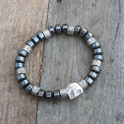 Howlite Skull and Hematite Beaded Bracelet by Lower East Dry Goods
