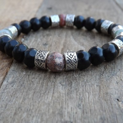 1 of 1 Jet Black Glass and Jasper Beaded Bracelet by Lower East Dry Goods