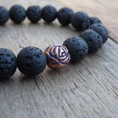 Black Lava and Copper Beaded Bracelet by Lower East Dry Goods