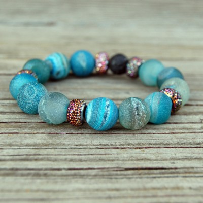 Aqua Druzy Agate Stone Bracelet by Lower East Dry Goods for GourmetKickz