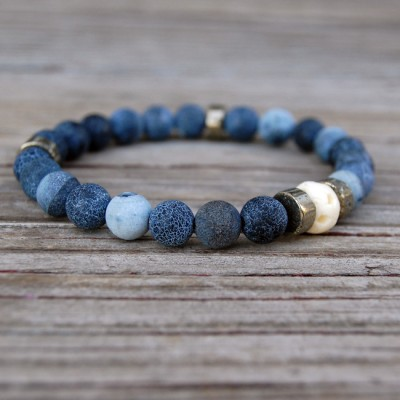 Denim Crackle Agate Stone Bracelet by Lower East Dry Goods for GourmetKickz