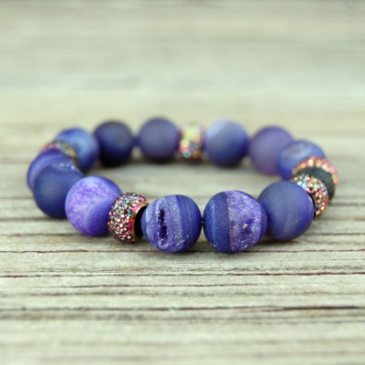 Purple Druzy Agate Stone Bracelet by Lower East Dry Goods for GourmetKickz