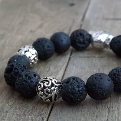 1 of 1 Black Lava and Metal Skull Beaded Bracelet by Lower East Dry Goods