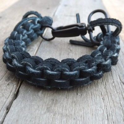 Hand Woven Black Leather Bracelet by Lower East Dry Goods