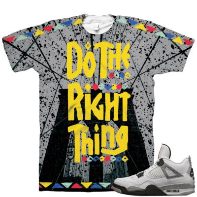 "6bf0a7512f09 Air Jordan 4 OG  89 ""White Cement"" Shirt V4"