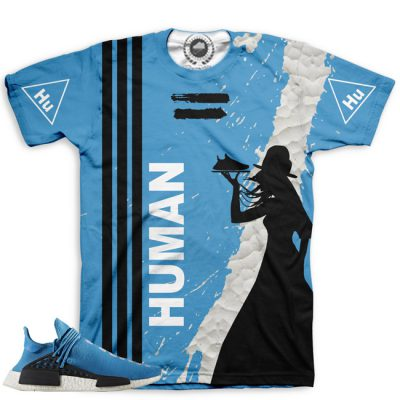 Pharrell Human Race Adidas NMD Custom T-Shirt by Chef Hanzo | Sharp Blue V2