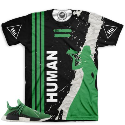 Pharrell Human Race Adidas NMD Custom T-Shirt by Chef Hanzo | Green V3