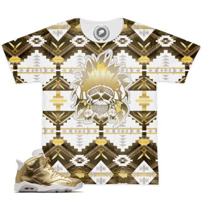 Air Jordan VI 6 Retro Pinnacle Metallic Gold Match T-Shirt | Beacon Print