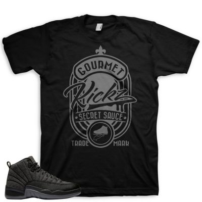 Jordan 12 Wool Sneaker Match Shirt | Secret Sauce Black