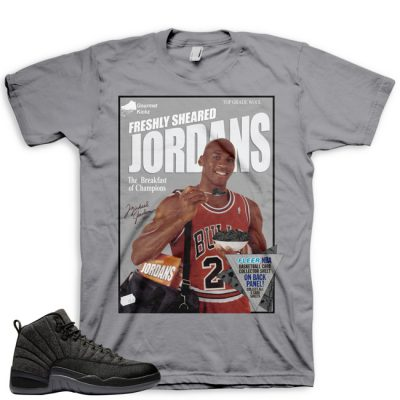 Jordan 12 Wool Sneaker Match Shirt | Wheaties Spoof Grey