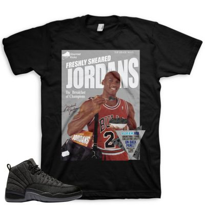 Jordan 12 Wool Sneaker Match Shirt | Wheaties Spoof Black