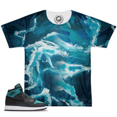 AJ1 Black Rio Teal Match T-Shirt | Work of Art