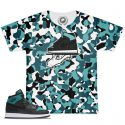 AJ1 Black Rio Teal Match T-Shirt | Camo