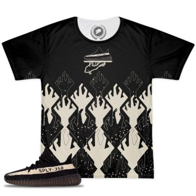 Yeezy Boost 350 V2 Blk/White Match Hungry Hands T-Shirt   2 Colors