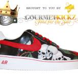 Custom &quot;Skulls N Roses&quot; Wht-Red Air Force 1 by GourmetKickz