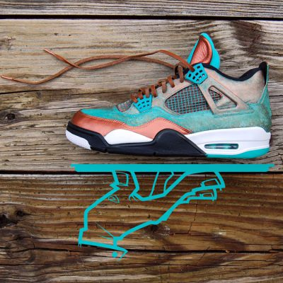 Custom Patina Jordan 4 | Artwork Only | Send in a Teal AJ4