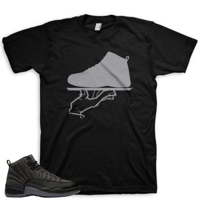 Jordan 12 Wool Sneaker Match Shirt | Now Serving Black