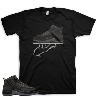 Jordan 12 Wool Sneaker Match Shirt | Now Serving FC Black